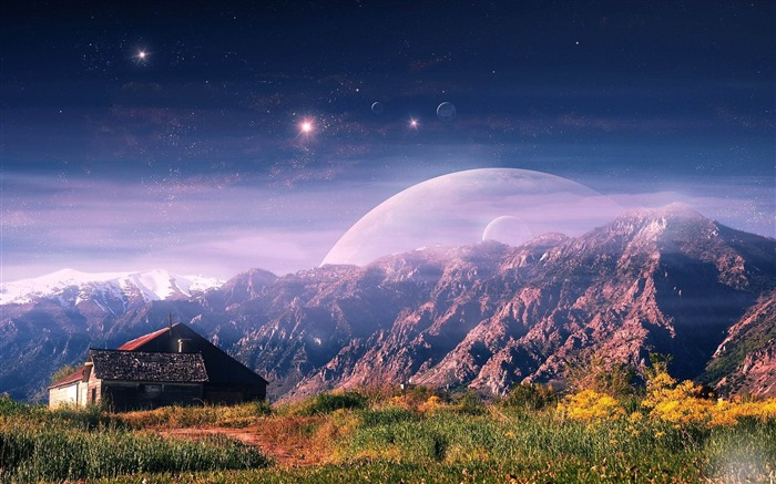 mountain house planet-Nature HD Wallpaper Views:7036 Date:11/14/2013 9:12:21 AM