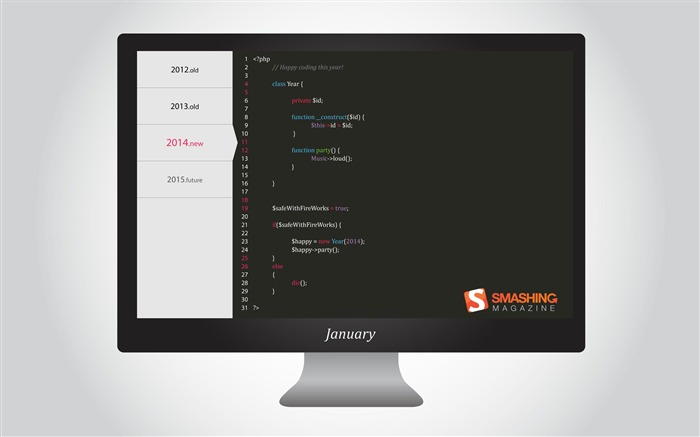 Happy Coding This Year-January 2014 calendar wallpaper Views:4110
