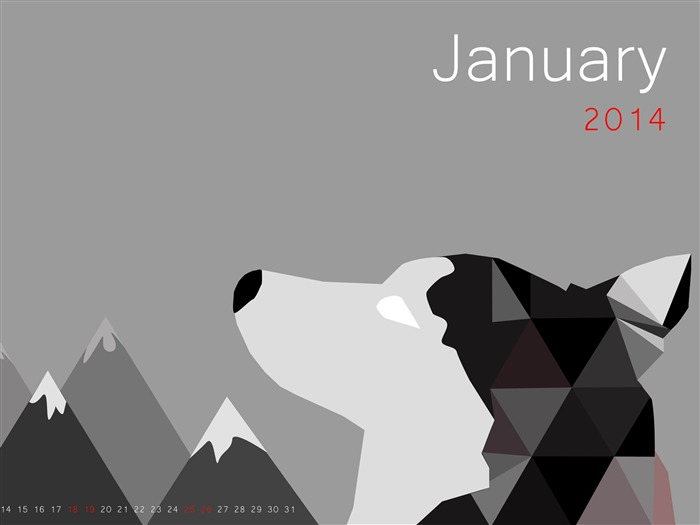 Month Of The Wolf-January 2014 calendar wallpaper Views:2325
