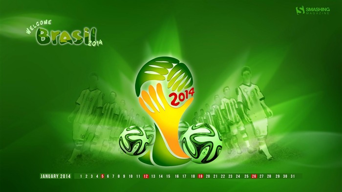Welcome to Brasil Fifa WC 2014-January 2014 calendar wallpaper Views:6781