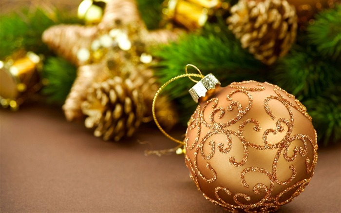 christmas decorations pine cones new year-Holidays wallpaper Views:2858