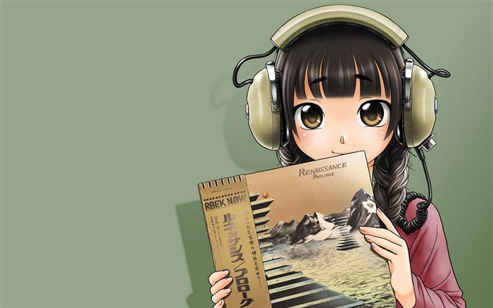 Cute anime girl wearing headphones wallpaper Views:10622