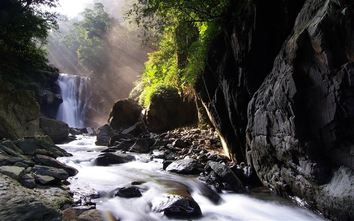 falls stream sources sunlight-Pictures HD Wallpaper Views:2902