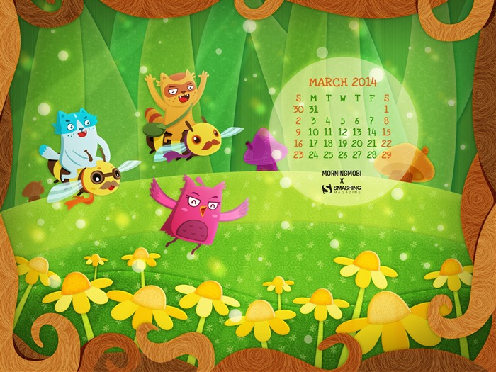 Flying Into Spring-March 2014 calendar wallpaper Views:3002