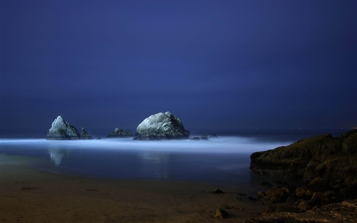 coast stones fog evening-Photo Wallpaper Views:3271