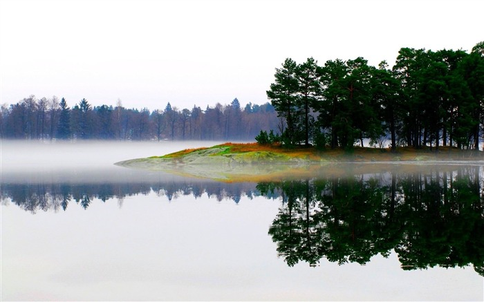 lake morning fog trees island-Photo Wallpaper Views:3407