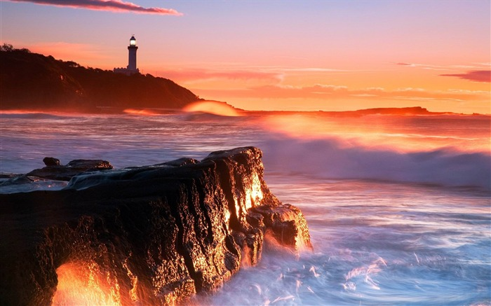 lighthouse rocks surf waves-Photo Wallpaper Views:2881