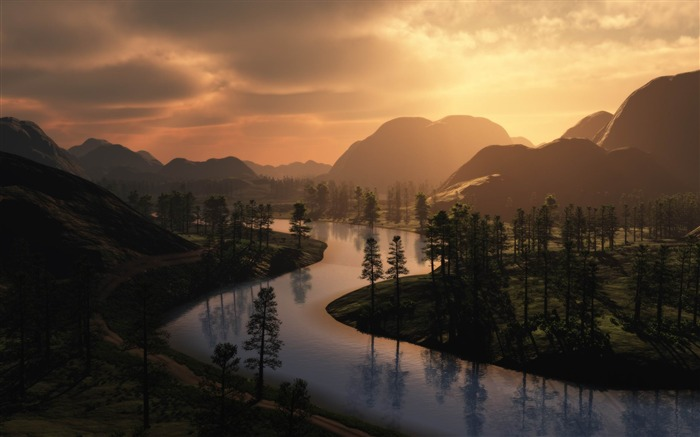 river bends trees outlines-Photo Wallpaper Views:4418