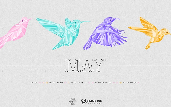 Birds Of May-May 2014 calendar wallpaper Views:2583