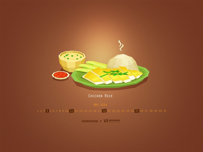 Everyday Is Chicken Rice Day-May 2014 calendar wallpaper Views:2485