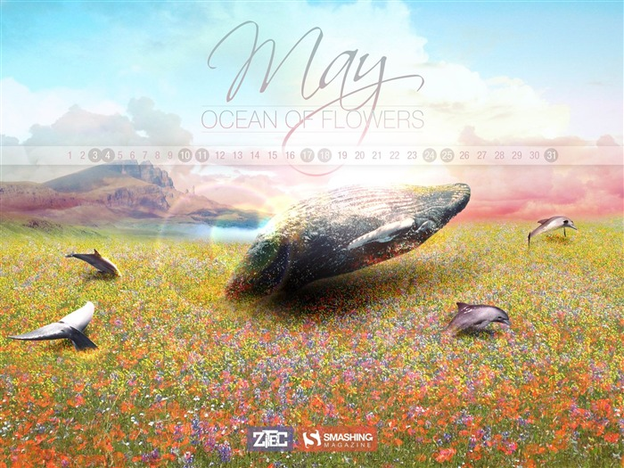 Ocean of Flowers-2014 calendar wallpaper Views:1995
