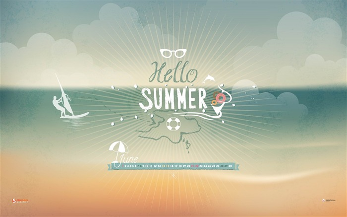 Hello Summer-June 2014 calendar wallpaper Views:5556