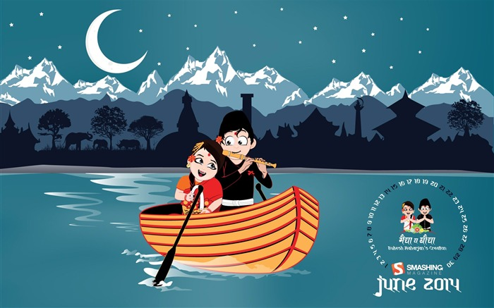 Romantic Night-June 2014 calendar wallpaper Views:1442