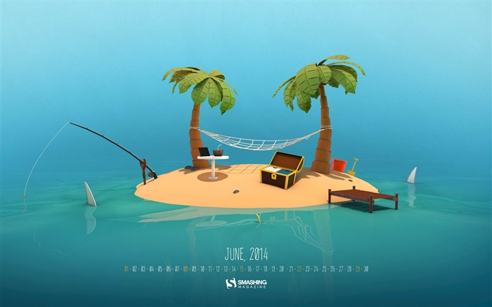 Tropical Island-June 2014 calendar wallpaper Views:1517