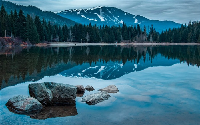 lake rocks mountains-Best Landscape Wallpapers Views:5886
