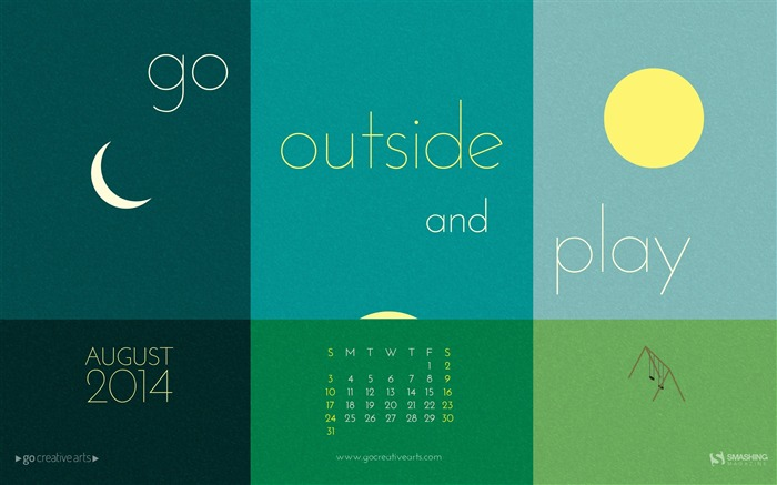 Go Outside And Play-August 2014 calendar wallpaper Views:4399 Date:7/31/2014 8:52:33 AM