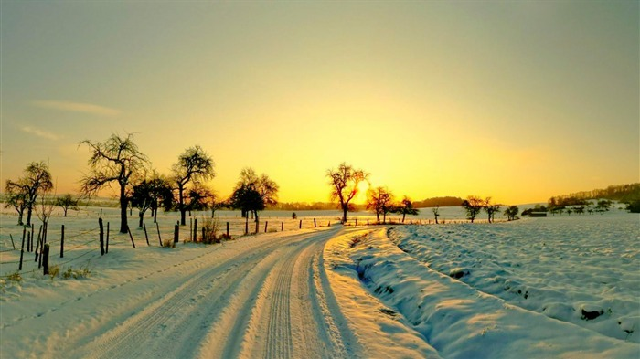 Winter Sunset Scenes-Nature Photo Wallpaper Views:1425