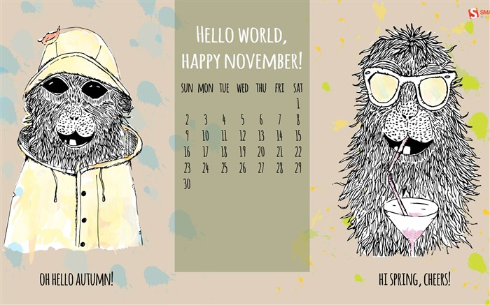 Hello World Happy November-November 2014 Calendar Wallpaper Views:4612 Date:10/31/2014 11:07:43 AM