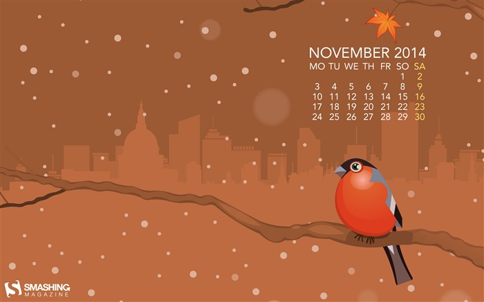 November Bird-November 2014 Calendar Wallpaper Views:4455 Date:10/31/2014 11:12:20 AM