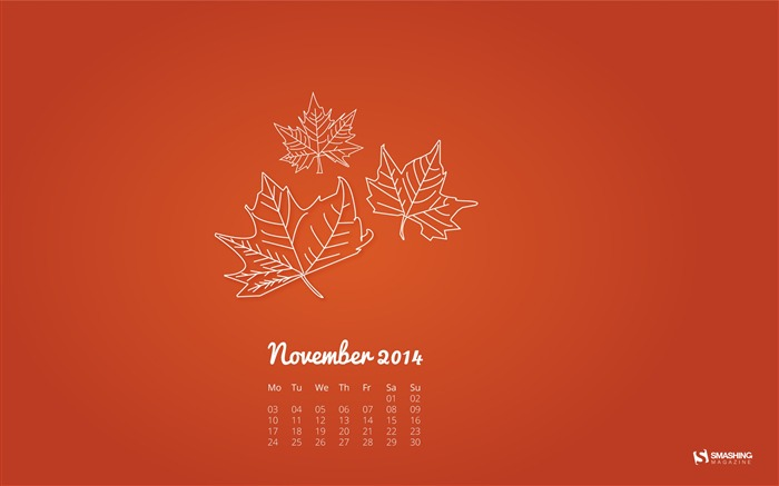 Simple Leaves-November 2014 Calendar Wallpaper Views:4868 Date:10/31/2014 11:16:49 AM