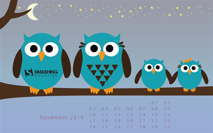 The Family Owl-November 2014 Calendar Wallpaper Views:4752 Date:10/31/2014 11:18:28 AM
