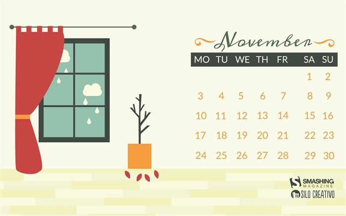The Rain Through My Window-November 2014 Calendar Wallpaper Views:8174 Date:10/31/2014 11:19:16 AM