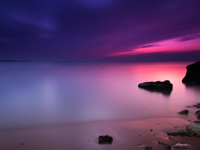 Purple Sunset Beach-HD Desktop Wallpaper Views:3275