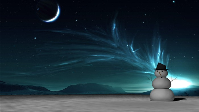 Snowman At Night-Abstract widescreen wallpaper Views:1431