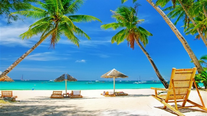 Tropical Beach Paradise-HD Desktop Wallpaper Views:1862