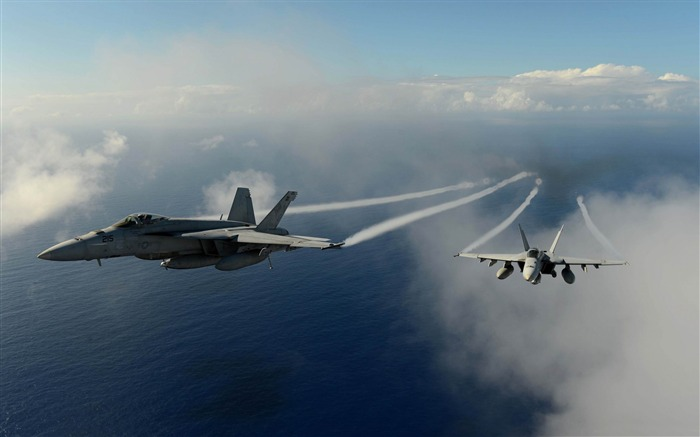 aircrafts flying over pacific ocean-military HD Wallpaper Views:3654