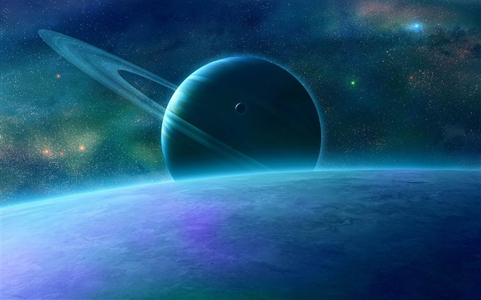 planet rings space-Abstract widescreen wallpaper Views:1423