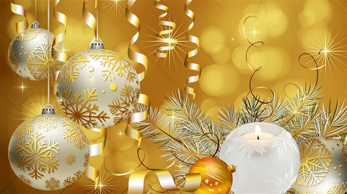 Golden Christmas Balls-Holiday desktop wallpaper Views:2575