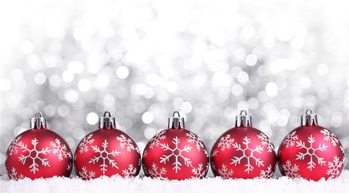 Red Christmas Balls-Holiday desktop wallpapers Views:1054