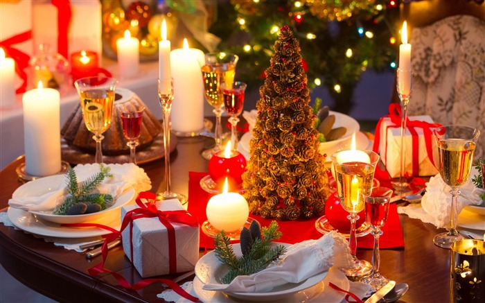 christmas dinner table-Holiday desktop wallpaper Views:2892