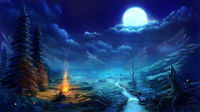 Nature Night Painting-HD Widescreen Wallpaper Views:3252