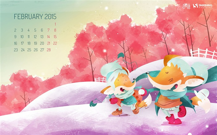 February 2015 Calendar Widescreen Themes Wallpaper Views:10402