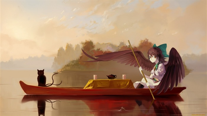 boat girl angel cat-HD Widescreen Wallpaper Views:2390