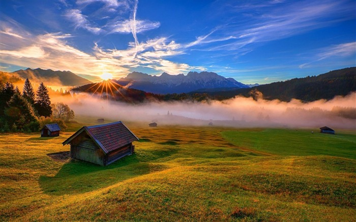 forest house rays mountains-HD Widescreen Wallpaper Views:3216
