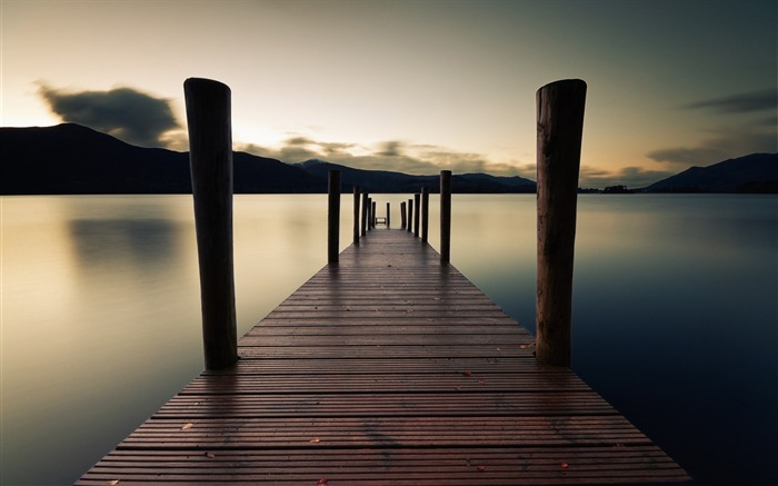 pier dawn lake-HD Widescreen Wallpaper Views:2759