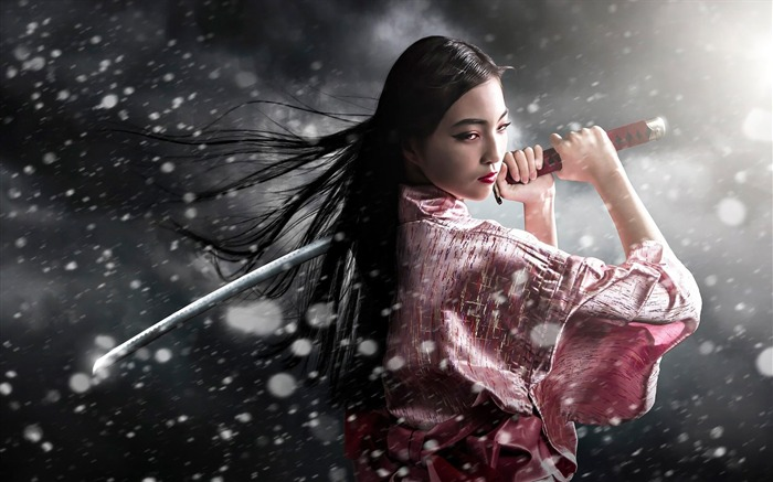samurai kimono sword girl-HD Widescreen Wallpaper Views:6501