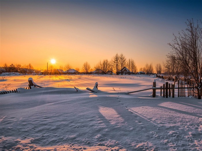 wooden fence village-HD Widescreen Wallpaper Views:2016