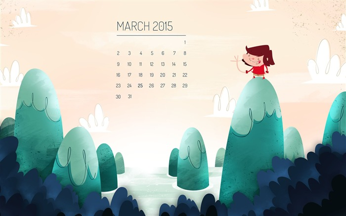 March 2015 Calendar Wide Themes Wallpaper Views:10328