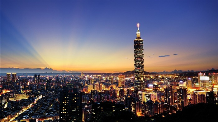 TaiPei night skyscrapers sunlight-Cities Desktop Wallpaper Views:2562