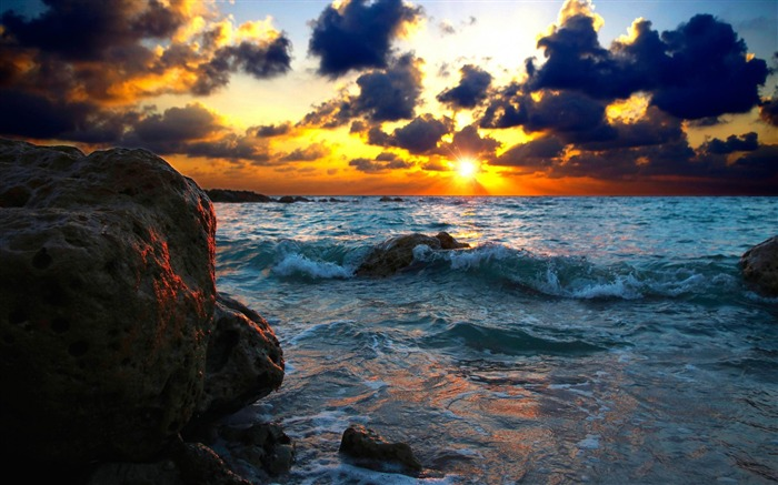 sea surf sunset stones-Photo HD Wallpaper Views:3138