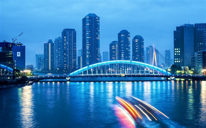Bustling Cities Night Scenery Widescreen Wallpaper Views:7962