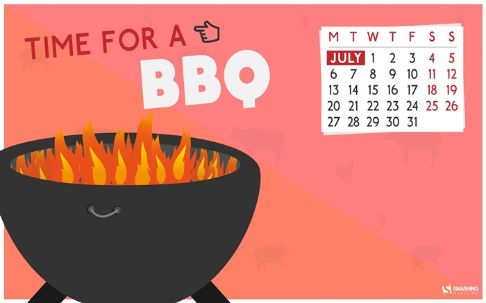 Time for BBQ-July 2015 Calendar Wallpaper Views:1641