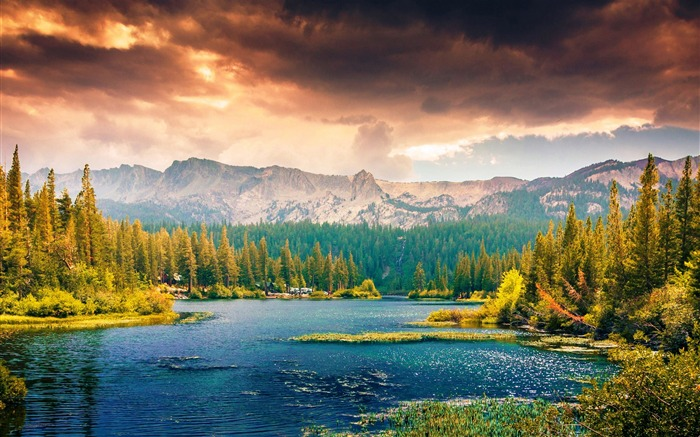 lake mountains forest trees-Nature HD Wallpaper Views:2749