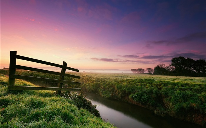 morning river grass fence-Nature HD Wallpaper Views:2291