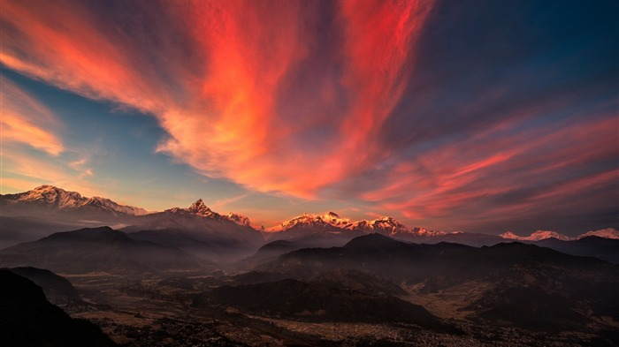 sunrise valley Tibet mountains-Nature Wallpaper Views:1907