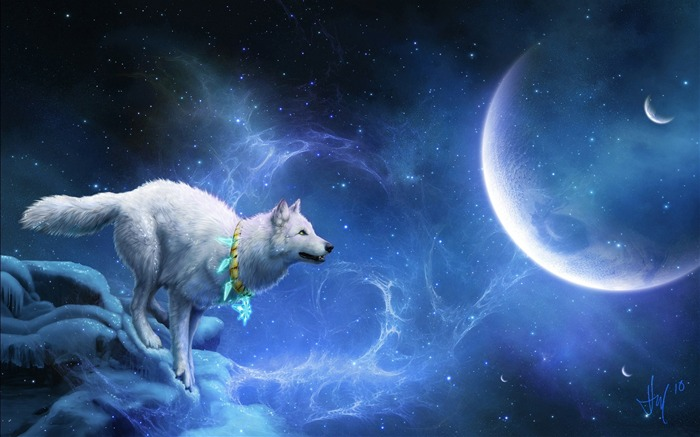 Magic white wolf-Design HD Wallpapers Views:6959